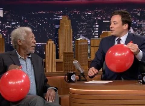 News video: Morgan Freeman and Jimmy Fallon Talk In 'Helium' Voice